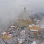 Drones grabando nevada sobre Barcelona